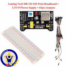 LT MB102 830 Steckbrett Breadboard + 65 Drahtbrücken + 3.3V/ 5V Netzteil-Adapter