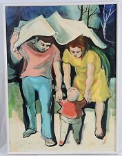 Bill Voss 30x40 Mid Century Modern Family in Rain Man Woman Baby Child Vintage
