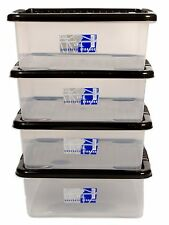 4 X 28L UNDERBED PLASTIC STORAGE BOX CLEAR CONTAINER & LIDS TOY SHOE BEDROOM