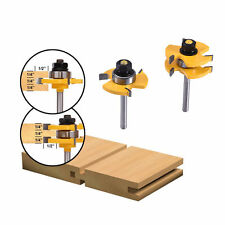 2PCS 3/4'' Stock 1/4'' Shank Wood Cutter Tool Tongue and Groove Router Bit Set