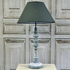 French Style Shabby Chic Farmhouse Grey Wash Distressed Table Lamp Linen Shade