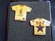 "2 Olympic Pin Atlanta Georgia 1996 USA Shirts Tourch 5 Rings Star 1"" NEW IN CASE"