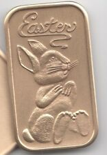 Personalized Easter Bunny Rabbit Antiqued Bronze Gift Bar coin Ingot customized