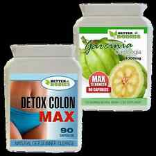 90 GARCINIA CAMBOGIA 1000MG + 90 DETOX COLON CLEANSE DIET SLIMMING PILLS BOTTLE