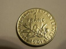 1961 France 1 Franc Nickel World Coin KM925.1 Female Seed Sower--INV190