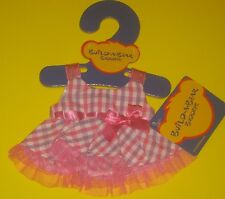 New Build-A-Bear SMALLFRYS FUCHSIA PLAID EASTER SPRING DRESS Outfit Buddies
