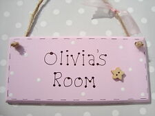 Personalised Girls Bedroom Sign Room Pink Name Sign Room Plaque Baby Gift