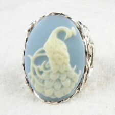Peacock Cameo Ring .925 Sterling Silver Jewelry Blue Resin Size Selectable
