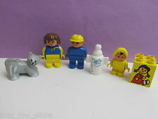 lego DUPLO FAMILY FIGURES SET mum dad baby  child CAT milk lot SET 296