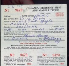 IDAHO DUCK STAMP RW23 (used) On 1956 Hunting/ Fishing License  - 12