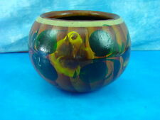 "Large Vintage Mexican Flower Planter Pot 8.5"" dia. Hand Painted Glazed Pottery"