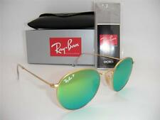 Authentic Ray-Ban RB 3447 112/P9 Round Matte Gold / Green Mirror Polarized 50mm