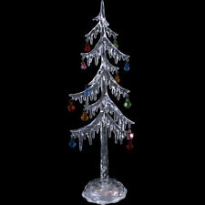 Tall Thin 35cm Ice Effect Light Up LED Colour Changing Christmas Tree Ornament