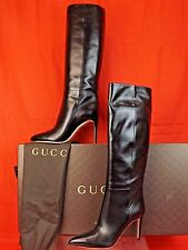 NIB GUCCI BLACK LEATHER POINTY TOE STILETTO HEEL TALL CLASSIC BOOTS 40 10 $1250