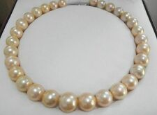 "South sea genuine gold pink nuclear round pearl necklace huge 18""14-16mm"