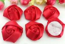 DIY 5/25/50PCS Satin Ribbon Rose Flower 40.00mm Craft/Wedding Appliques