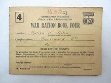 WWII Office of Price Adminstration War Ration Book Four Marian Felten Breezewood