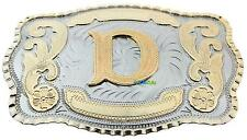 Initial Letter D Western Extra Large Rodeo Cowboy Belt Buckle