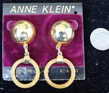 New Original Card Old Stock ANNE KLEIN Goldtone Dangle Pierced Earrings #17