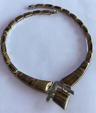 """Vintage Modernist Taxco Mexican 950 Sterling Silver Tigers Eye Necklace 15 5/8"""""""