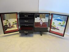 JAPAN LACQUER JEWELRY MUSIC BOX w/ DANCING doll Mirrors PAGODAS Abalone 12 x 9""