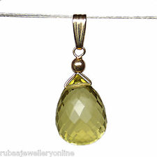 GENUINE LEMON QUARTZ GEMSTONE FACETED BRIOLETTE / DROP 14k GOLD FILLED PENDANT