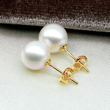 8-9mm Freshwater Pearl 18K Solid Gold Stud Earrings White Perfect Round