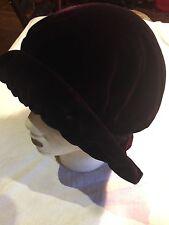 Edwardian Style Antique Black Burgundy Vintage Velvet Hat