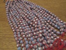 Vintage 7-8mm 5 Layer Glass Purple, White & Red Chevron Beads - 8""