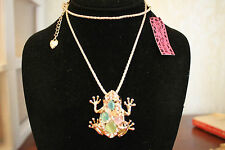 "Betsey Johnson 28"" GP Chain,1 1/2"" Opal,Crystal Frog Necklace"