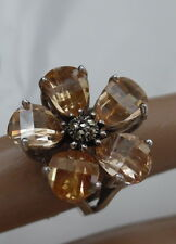 ELEGANT STERLING RING W, FACETED APRICOT CRYSTAL FLOWER DESIGN
