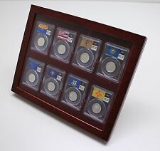 Wood Display Showcase for 8 Certified Coin Slabs from PCGS, NGC, ANACS, etc