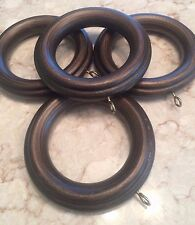 BRONZE Rib WOOD RINGS for curtains - LOT of 4 rings - R245a