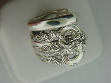 ANTIQUE WALLACE GRANDE BAROQUE PATTERN STERLING SILVER SPOON RING   SIZE 81/2