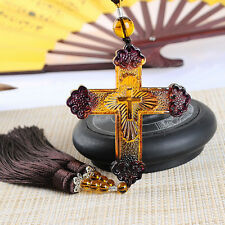 Liuli Crystal Jesus Cross Amulet Pendant Wall Car Hanging Ornament Lucky Gifts