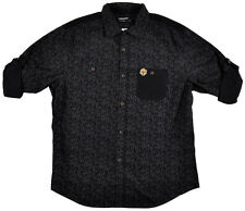 Trukfit Dress Shirt Tommy Button Up Rolled Sleeves Collar Mens Authentic Black