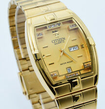 New Citizen Quartz Man`s Day Date Gold Tone  Steel Gold Dial Analog Watch 146M