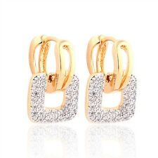 Luxury 18K gold filled Swarovski crystal fashion lady hoop dangle earrings