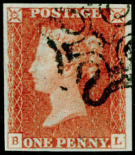 Sg8, 1d red-brown, VF used. Cat £320. BLACK MX WITH NUMBER 10. 4 MARGINS. BL