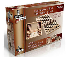 Wooden Game box 3 in 1 family 66 pieces chess draughts backgammon gift present
