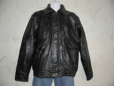 Superb Black Patch Real Leather Zip Waist Length Bomber Biker Jacket Size M Boho