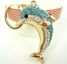 YS266 Dolphin Keyring Creative Diamond Crystal Charm Pendant Key Bag Chain Gift