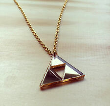 Zelda Tri Force Link Golden Retro Gamer Charm Necklace Nintendo Geek Triforce
