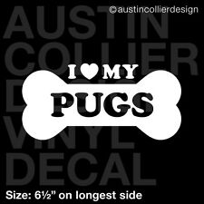 "6.5"" PUGS vinyl decal car window laptop sticker - dog breed rescue"