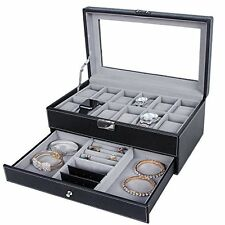 Leather Jewelry Box with Display Drawer 12 Watch Men Women Lock Organizer - NEW