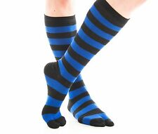 1 Pair - V-Toe Flip Flop Tabi Socks - Blue, Black Striped Over Calf