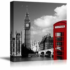 London with Pop of Color on the Telephone Booth - Canvas Art - 24x24 inches