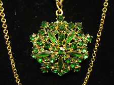 Vintage Green Rhinestone Pendant on a 3 Strand Long Chain Necklace