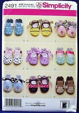 Simplicity Baby Booties Sewing Pattern Infant Shoes Applique Ribbon X S M L 2491