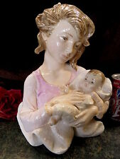 BEAUTIFUL HP Young Mother & Baby Child Figurine Signed E S Made in Italy HEAVY!
